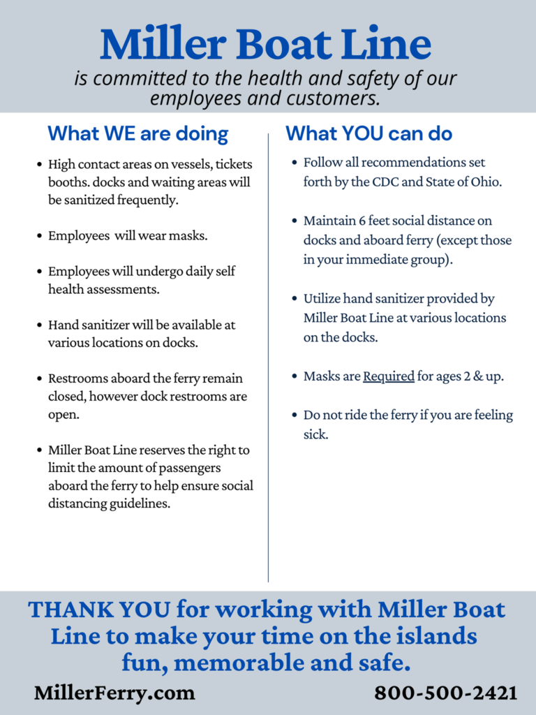 Put-in-Bay miller covid safety sheet